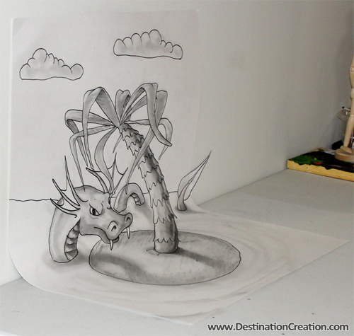 Anamorphic 3D Drawing: Serpent Island