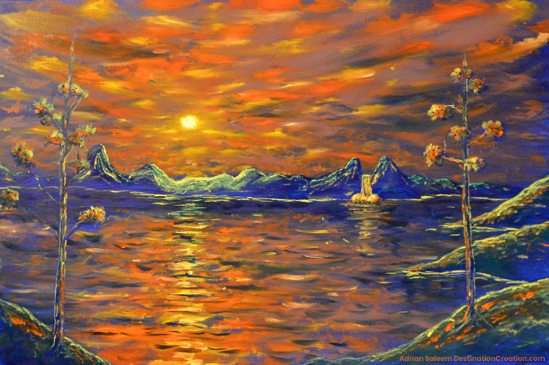 colorful waterscape painting